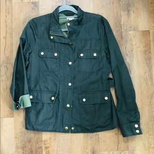 J CREW Resin Coated Twill Field Jacket Mossy Brown